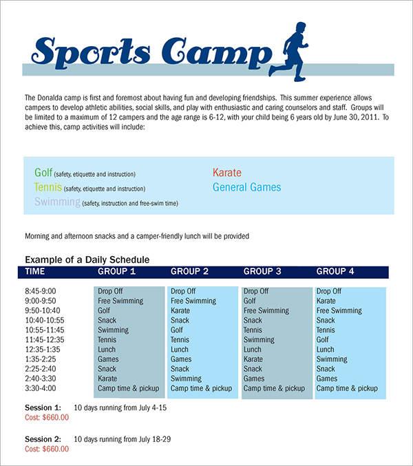 Sports Club Brochure