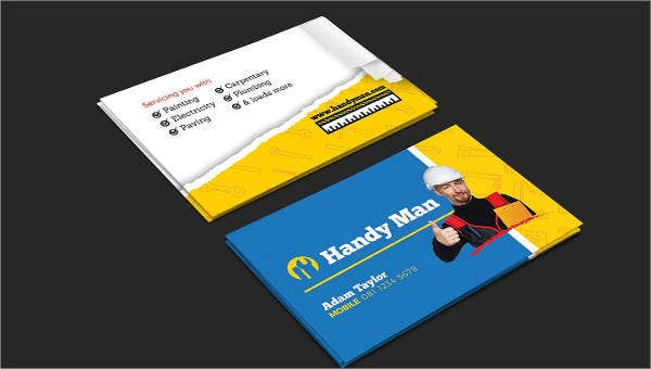 6 Best Handyman Business Cards In Psd Word Apple Pages Eps