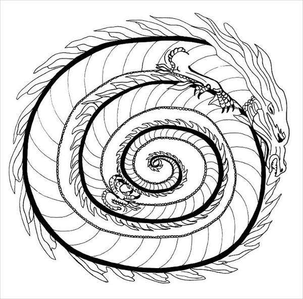Mandala Dragon Coloring Page