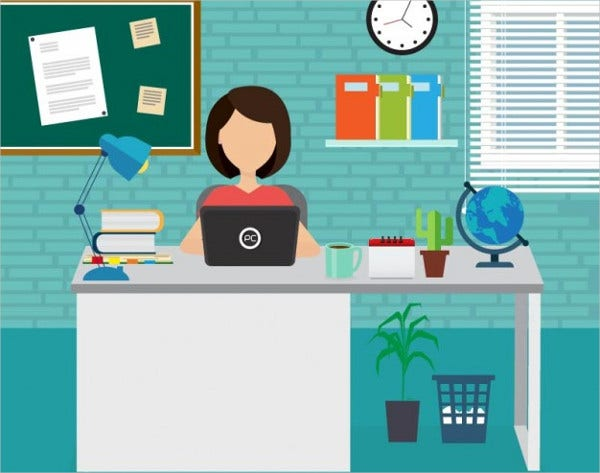 Women Working Office Vector