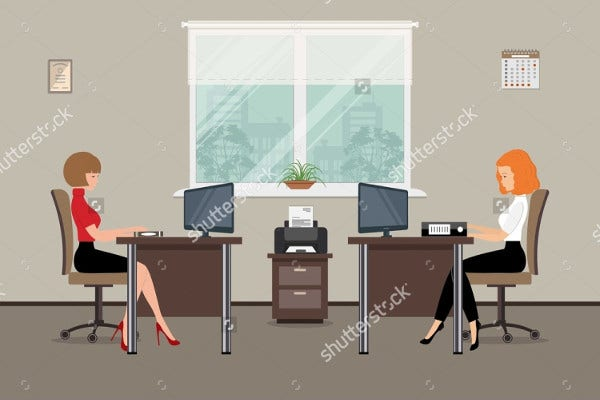 Vector Flat Office Illustration