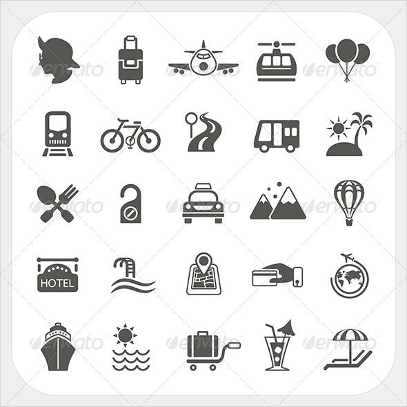 travel transportation icons