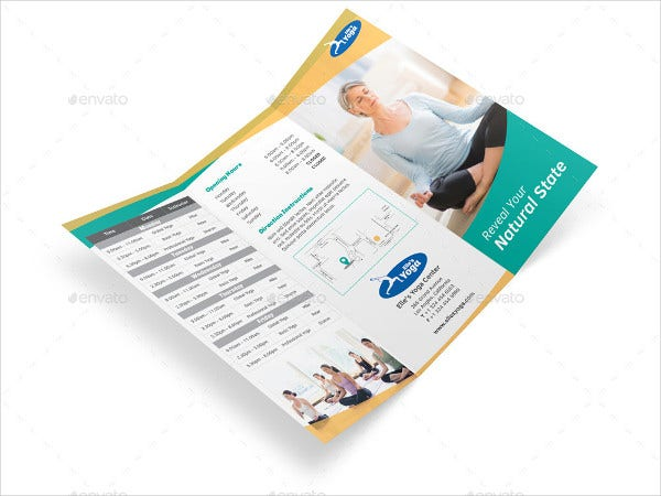 yoga fitness tri fold brochure