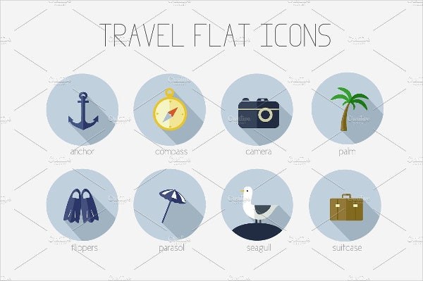 rounded flat travel icons