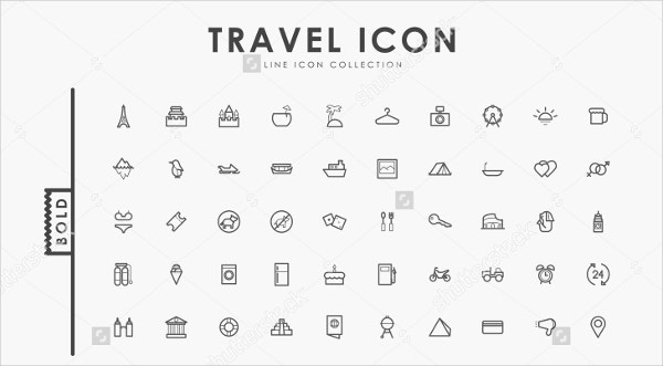 outline travel icons set