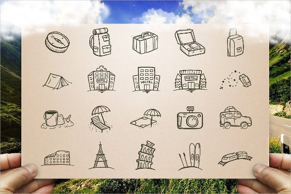 handdrawn travel icons