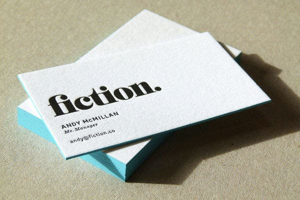thick letterpress business card