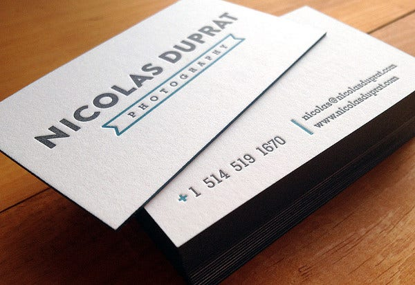 thick business card for photographer