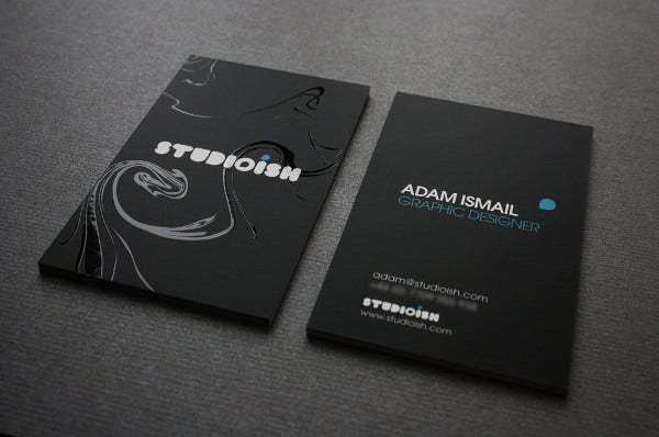 thick black business card