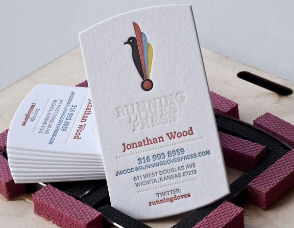 die cut thick business card