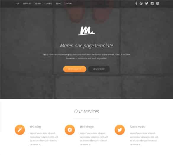 one page bootstrap website template min