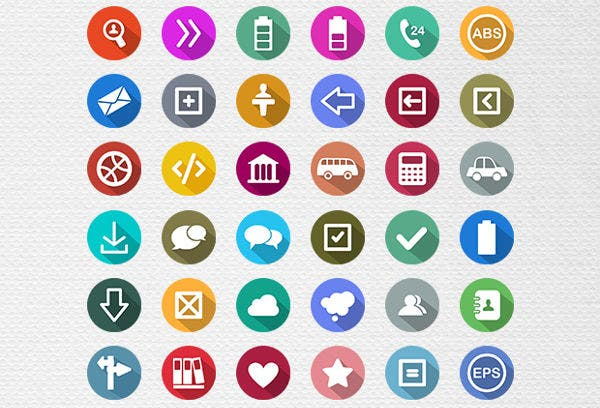 100 flat long shadow icons