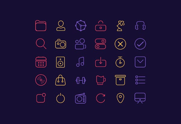 30 line icon packs