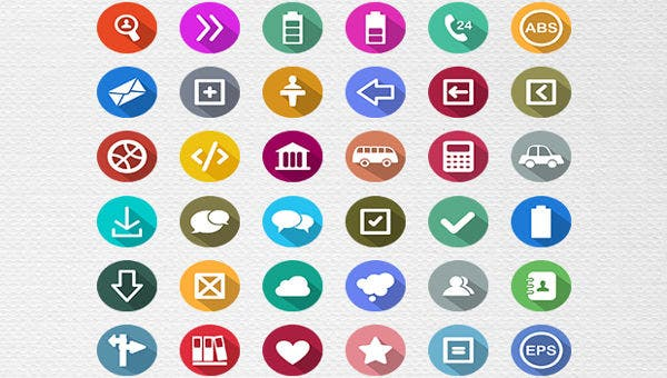 100 flat long shadow icons1