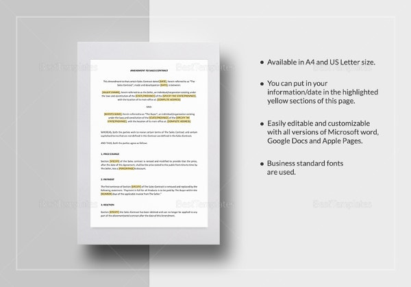 Amendment To Sales Contract Template In IPages