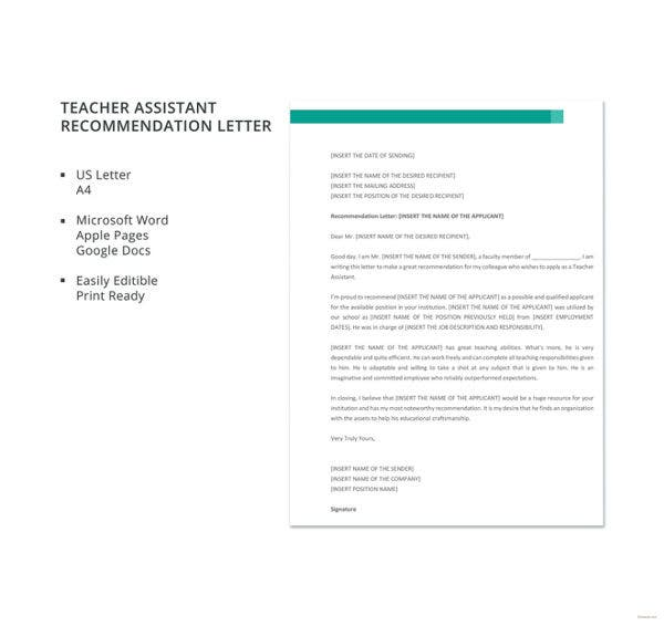 assistant teacher recommendation letter template