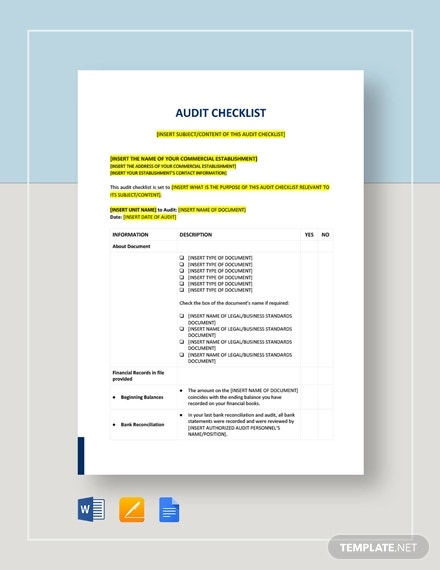 audit checklist template3