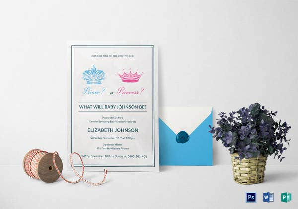 baby gender reveal invitation template