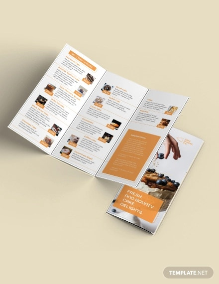 bakery cake shop tri fold brochure template