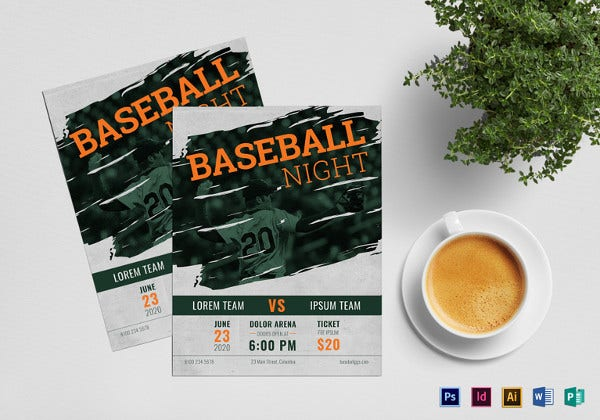 baseball flyer template in indesign