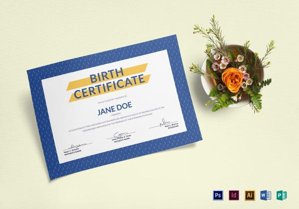 blue birth certificate