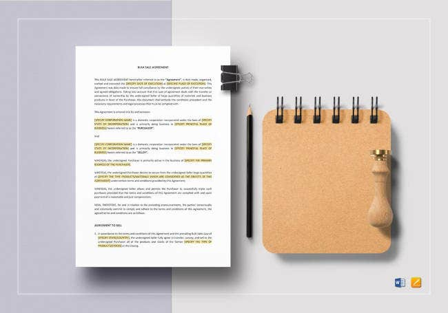 bulk sale agreement template