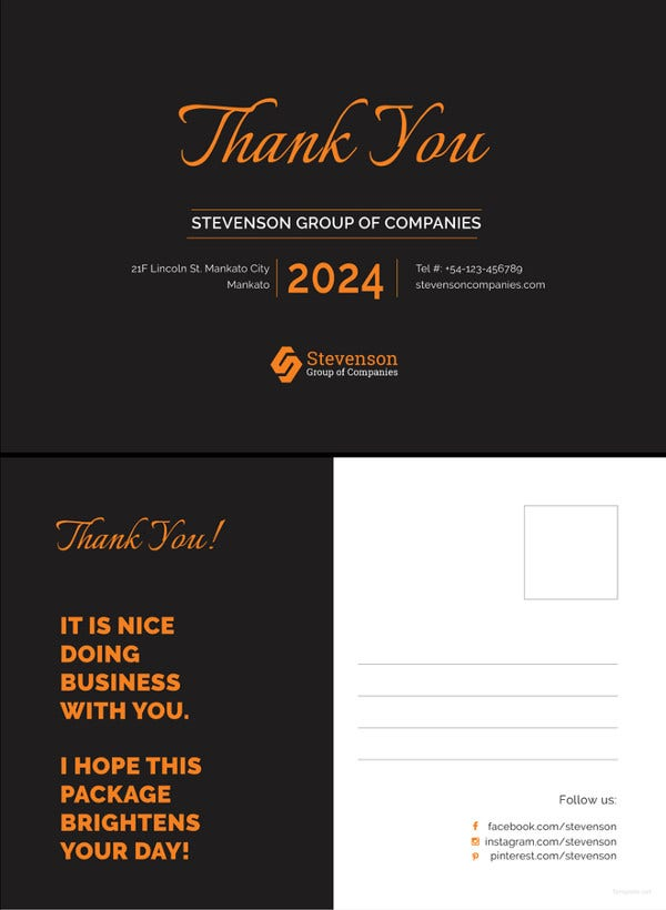 business thank you postcard template