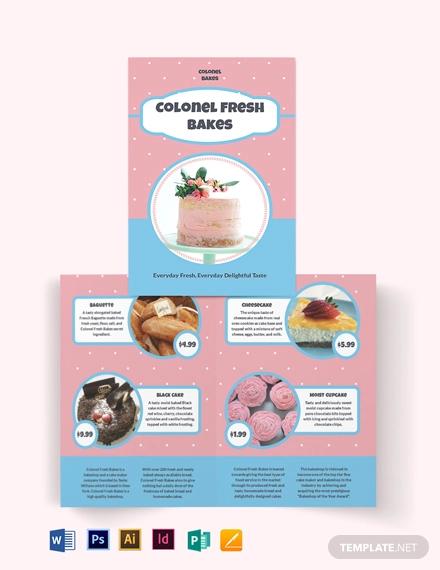 cake bakery bi fold brochure template