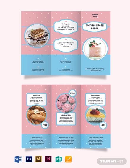 cake bakery tri fold brochure template