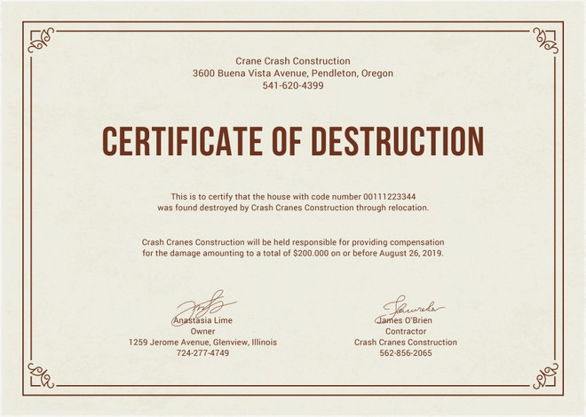 Good certificate of destruction template photos for Hard drive destruction certificate template