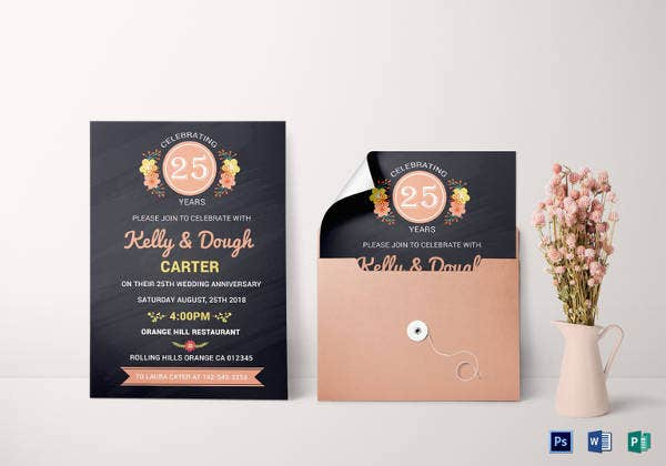 chalkboard 25th anniversary invitation card template