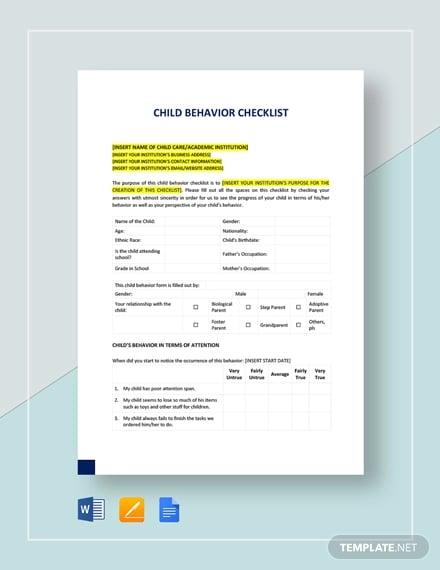 11+ Child Behavior Checklist Template - Free PDF Documents