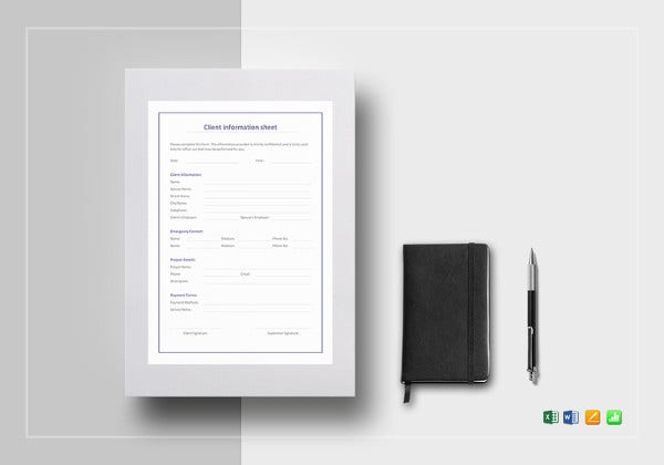 client information sheet excel template