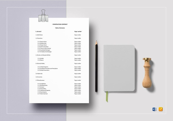 construction contract template to print