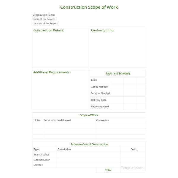 construction scope of work template1