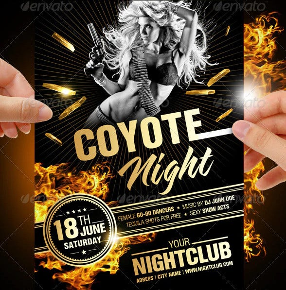 coyote night party flyer