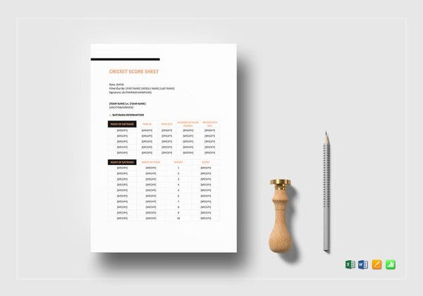 Score Sheet Template   Free Word Pdf Documents Download  Free