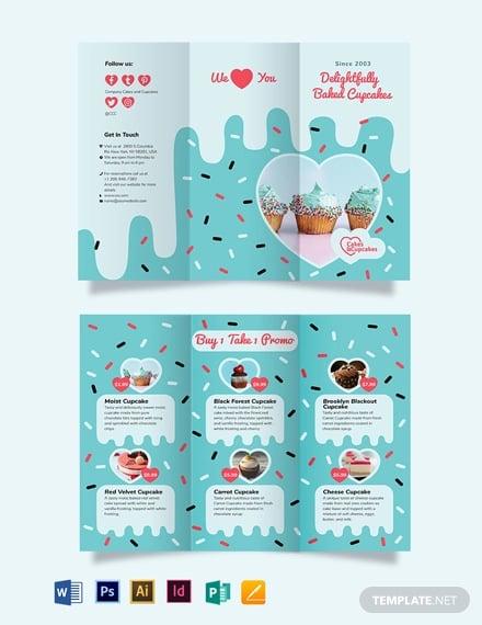 cupcake bakery tri fold brochure template