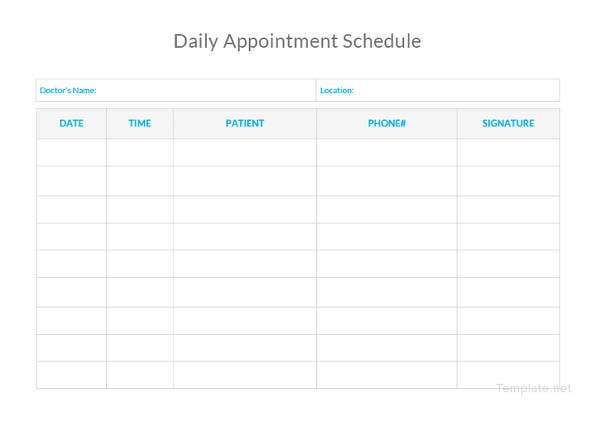daily-appointment-schedule-template