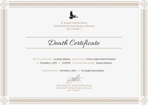 9 death certificate template free sample example format death certificate template free download yadclub Choice Image