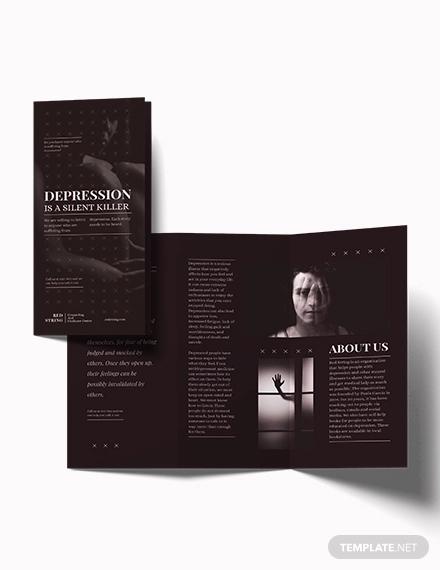 depression tri fold brochure template