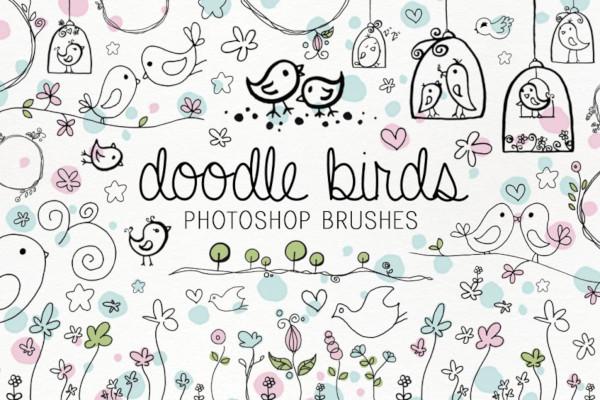 doodle birds photoshop brushes