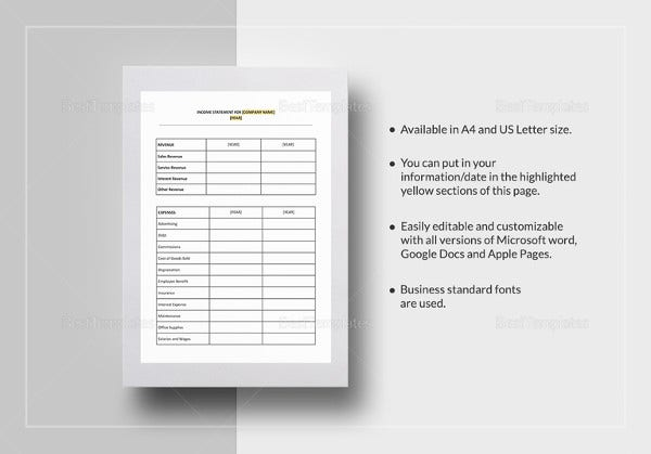 easy to print income statement template