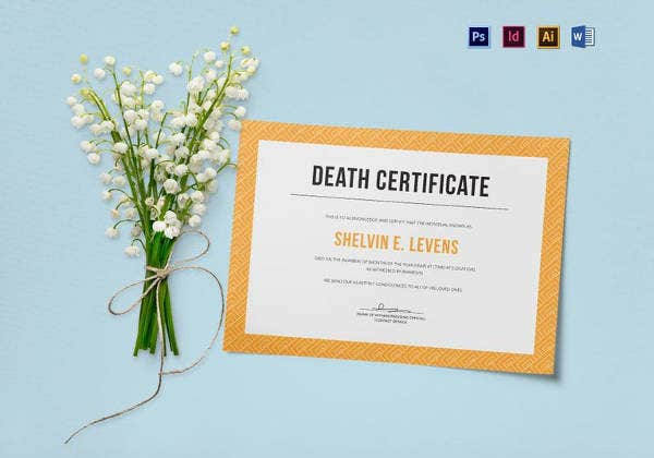 editable death certificate template