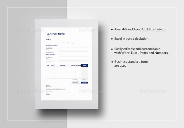 education-invoice-template