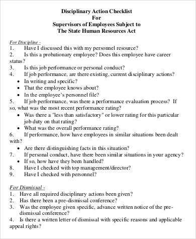 employee disciplinary action checklist