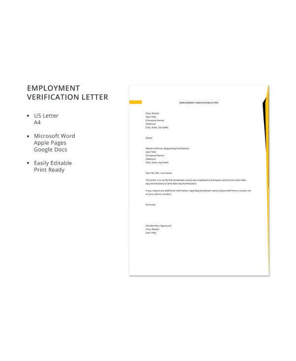Employee Verification Letter 14 Free Word Pdf Documents Download