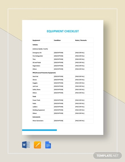equipment checklist template1