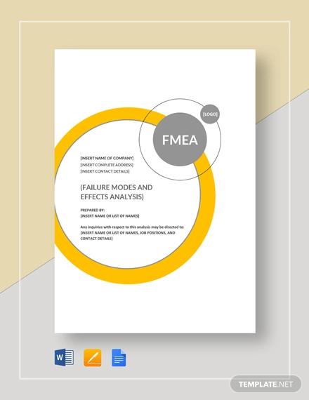 fmea analysis template
