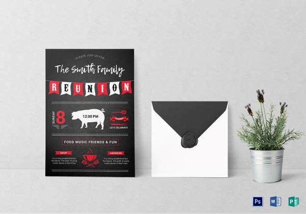 family bbq reunion invitation template